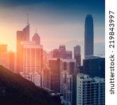 Hong Kong cityscape at sunset - amazing atmosphere - stock photo