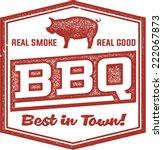 Vintage BBQ Barbecue Menu Stamp - stock vector
