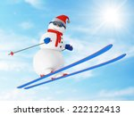 Happy Snowman on Ski Jumping from a Springboard in a wonderful sunny day - stock photo