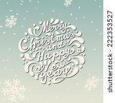 Merry Christmas Card. Merry Christmas and Happy New Year typography, handwriting - stock vector