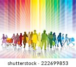 Crowd of shopping people in a colorful city - stock vector