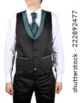 Mens wedding attire, vest suit, isolated on white background. - stock photo