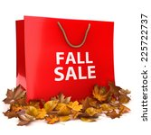 Fall Sale .Seasonal shopping advertisement with a shopping bag with the text Fall Sale with leaves on a white background. - stock photo