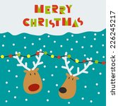 Christmas card with two deers - stock vector