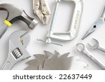 An array of assorted hand tools closeup - stock photo