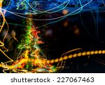 abstract visualization of Light traced digital christmas cyber tree image  - stock photo