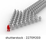Arrow made of people. 3D image. - stock photo
