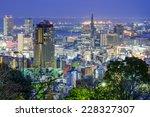 Kobe, Japan city skyline at twilight. - stock photo