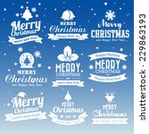 Christmas set of Calligraphic And Typographic Design With Labels, Illustration eps10 - stock vector