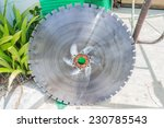 Big diamond blade for cutting thick concrete - stock photo