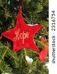 red velvet star ornament with HOPE - stock photo