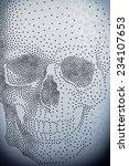 Skull pattern on white background - stock photo
