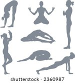 Yoga postures. A set of yoga postures silhouettes. - stock vector