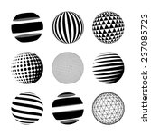Set of black abstract sphere. Vector logo template - stock vector