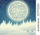 Christmas background with snowflakes, moon, hares and typographic doodle. Happy Holidays - stock photo