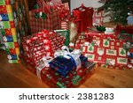 wrapped xmas presents - stock photo