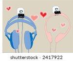 headphones in love - stock photo