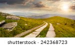 composite panorama Landscape with road on a hillside with huge stones and conifer trees  near mountain peak in sunset light - stock photo