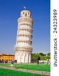 The Leaning Tower of Pisa, Tuscany area of Italy - stock photo