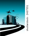 Highway leading into a city with buildings and planes. - stock photo