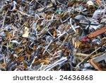 Pile of metal and aluminum scrap - stock photo