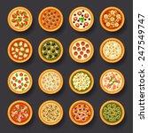 pizza icon set - stock vector