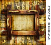 old egyptian background with rustic  wooden frame - stock photo