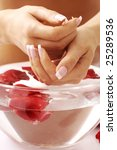 Beautiful hands and water with rose petals - stock photo