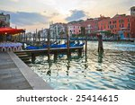 View of famous Grand Canal in the evening, Venice - stock photo