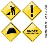 Vector set of four different glossy construction traffic signs - stock vector