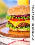 Tasty and appetizing hamburger cheeseburger - stock photo