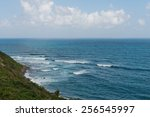 A view of the Atlantic Ocean from the north shore, St. Kitts - stock photo