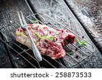 Closeup of beef with herbs - stock photo