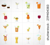 Alcohol drinks and cocktails soft and long-drinks icon set in flat design style. - stock vector
