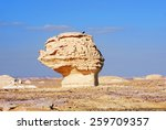 The limestone formation in White Desert at sunset, Sahara, Egypt - stock photo
