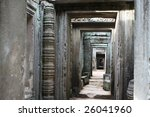 ancient angkor doorways - stock photo
