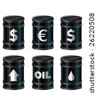 A detailed vector set of glossy black oil barrels with currency and other symbols. - stock vector