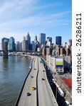 Highway to downtown Manhattan in New York - stock photo