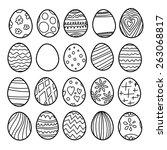 Vector set of easter eggs. Black and white illustration - stock vector
