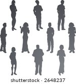 Young Friends Silhouettes  A group of young friends. Each is a complete silhouette. - stock vector