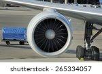 engine of passenger airplane waiting in airport at platform - stock photo