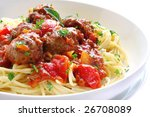 Bowl of spaghetti and meatballs, in a tomato sauce. - stock photo