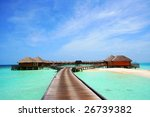 over-water villas - stock photo