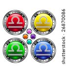 Round shiny vector button with libra zodiac symbol icon on colorful background - stock vector