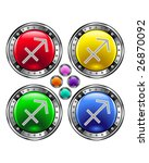 Round shiny vector button with sagittarius zodiac symbol icon on colorful background - stock vector