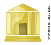 Glossy vector illustration of a golden greek style building (bank, museum, university, temple) - stock vector