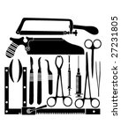 Surgical tool set in silhouette - vector illustrations - stock vector