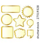 Thought or conversation bubble stickers in gold vector - stock vector