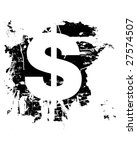 Dollar currency symbol icon on grunge background - stock vector