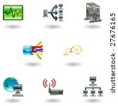 A glossy computer network and internet icon set - stock vector